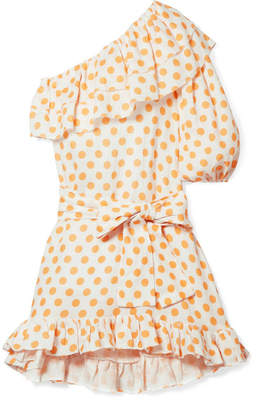 Lisa Marie Fernandez Arden Ruffled One-shoulder Polka-dot Linen Mini Dress - Pastel orange