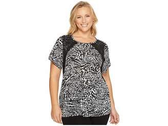 MICHAEL Michael Kors Size Big Cat Lace Crew Tee Women's T Shirt
