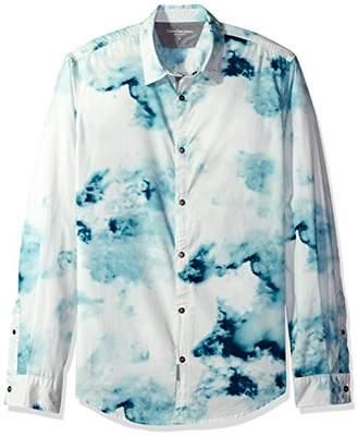 Calvin Klein Jeans Men's Long Sleeve Smoke Print Button Down Shirt