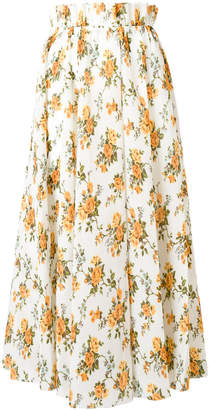 Zimmermann Golden floral-print plissé skirt