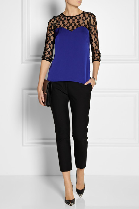 Milly Lace and stretch-silk satin top