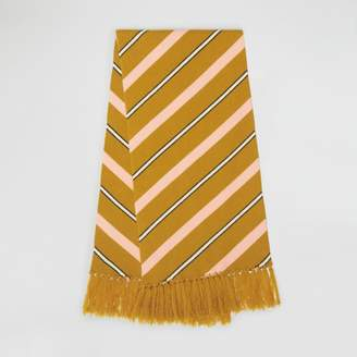 Burberry Tri-tone Striped Wool Cashmere Scarf