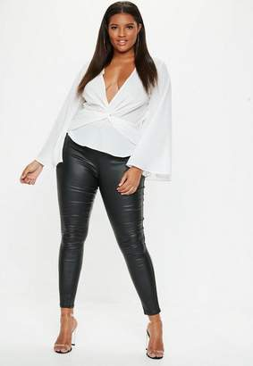 Missguided Plus Size White Twist Front Top