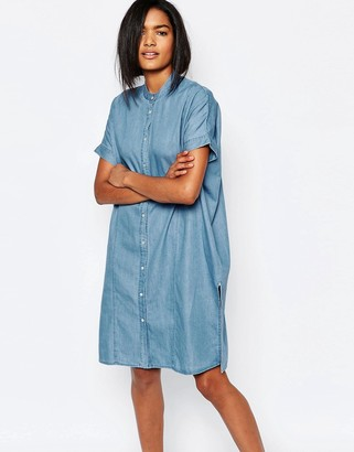 Vila Collarless Denim Shirt Dress $62 thestylecure.com