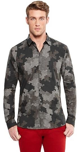 HUGO BOSS Ero Slim Fit, Digital Camouflage Cotton Button Down Shirt - Medium Grey
