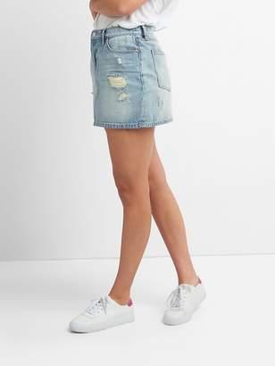 5-Pocket Denim Mini Skirt in Distressed