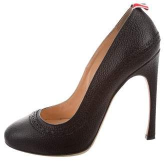 Thom Browne Leather Round-Toe Pumps