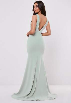 Missguided Bridesmaid Green Sleeveless Low Back Maxi Dress, Green