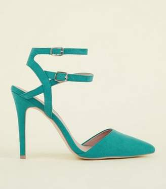 New Look Wide Fit Green Suedette Double Ankle Strap Stilettos