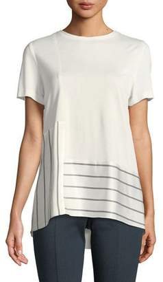 St. John Heavy Sleek Mixed-Media Top