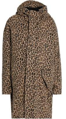 R 13 Leopard-Print Cotton-Gabardine Hooded Coat