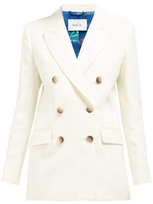 Racil - Harry Double Breasted Cotton Blend Tuxedo Jacket - Womens - Ivory