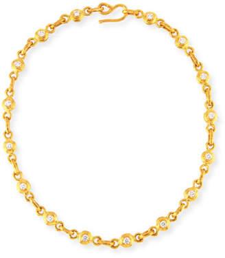 Jean Mahie White Diamond & Pink Sapphire Link Necklace