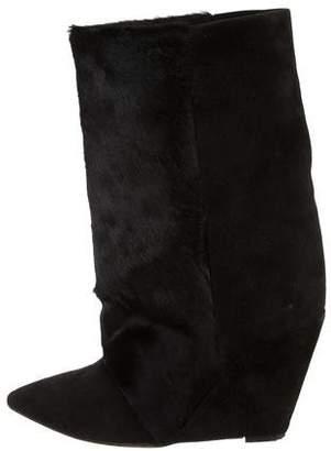 Isabel Marant Ponyhair Mid-Calf Wedge Boots