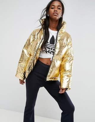 Asos Design Metallic Puffer Jacket