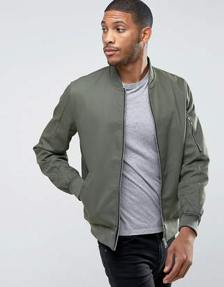 Asos Cotton Bomber Jacket With Sleeve Zip In Khaki