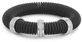 Alor Kai 18K White Gold & Black Stainless Steel Diamond Coiled Bangle Bracelet