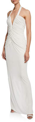 Tom Ford Haltered Deep-V Ruched Jersey Gown