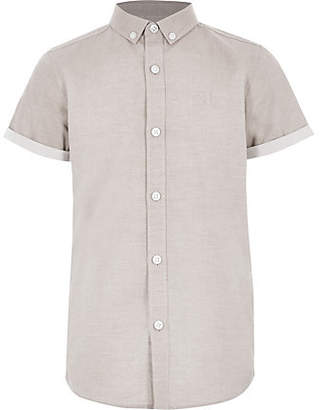 River Island Boys stone RI short sleeve shirt