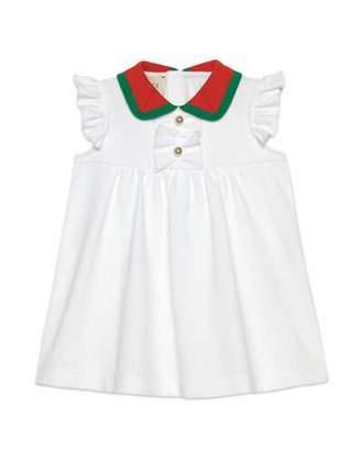 Gucci Ruffle-Trim Dress w/ Two-Tone Knit Collar, Size 9-36 Months