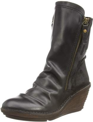 Fly London Womens Simi Black Black Leather Boots 41 EU