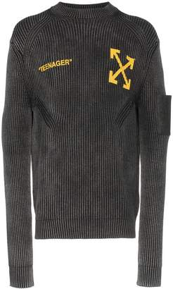 Off-White Bart Simpson flame print ribbed cashmere cotton blend jumper