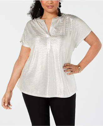 INC International Concepts I.n.c. Plus Size Texted Metallic Top