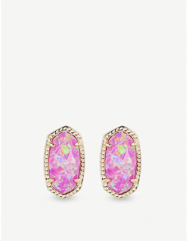Ellie 14ct gold-plated Fuschia Kyocera Opal stud earrings
