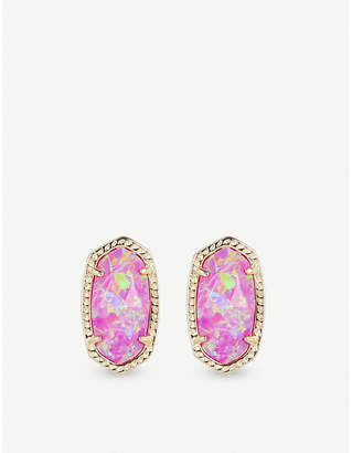At Selfridges Kendra Scott Ellie 14ct Gold Plated Fuschia Kyocera Opal Stud Earrings