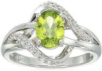 Sterling Silver 2 Stone Oval Peridot and Lab Created White Sapphire Ring