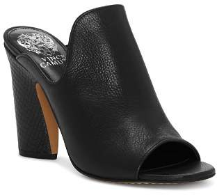 Vince Camuto Women's Gerrty Peep Toe High-Heel Leather Mules