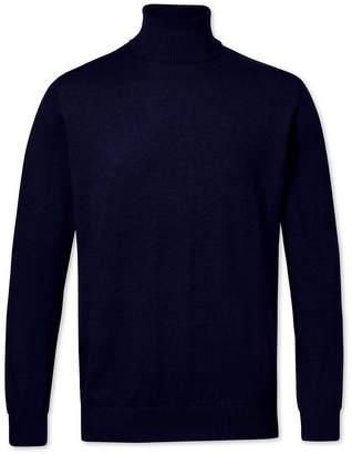 Charles Tyrwhitt Navy Merino Wool Roll Neck Sweater Size XS