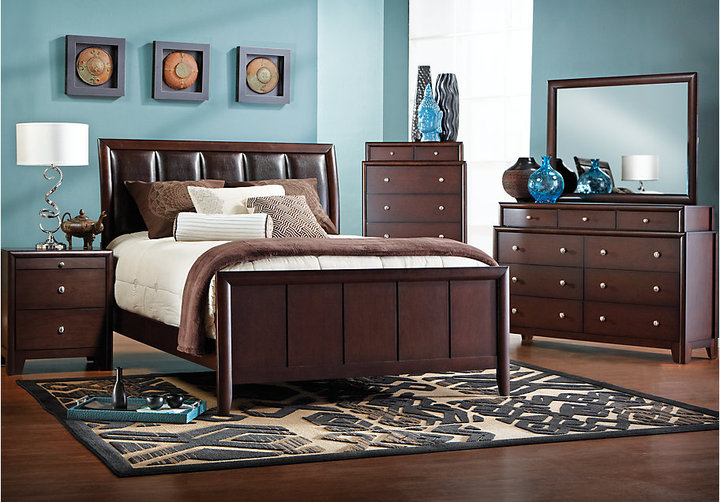 Rooms To Go Elmcrest Queen Walnut 6Pc Upholstered Bedroom - ShopStyle