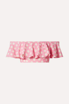 Lisa Marie Fernandez Mira Flounce Off-the-shoulder Polka-dot Stretch-crepe Bikini Top - Baby pink