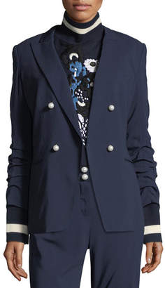 Veronica Beard Double-Breasted Ruched-Sleeve Blazer
