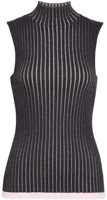 Burberry Sleeveless Rib Knit Cashmere Silk Turtleneck Sweater