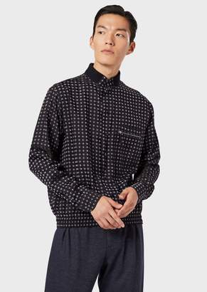 Giorgio Armani Shirt In Exclusive Patterned Fabric With Elasticated Hem