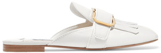Prada - Fringed Leather Slippers - White $780 thestylecure.com