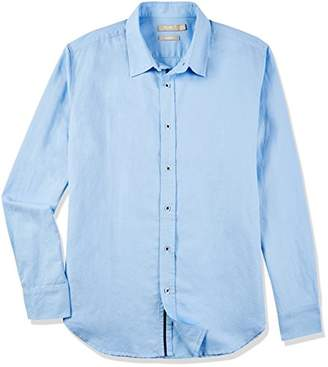Isle Bay Linens Men's Slim-Fit Long-Sleeve Webbed-Placket Woven Shirt