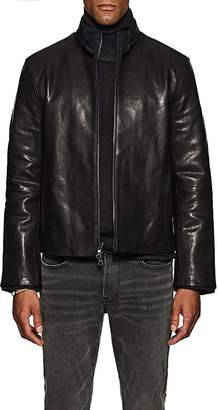 John Varvatos Men's Layered-Collar Leather Jacket