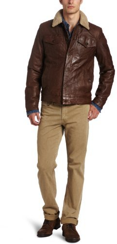 Levi's Men's Leather Trucker Jacket with Sherpa
