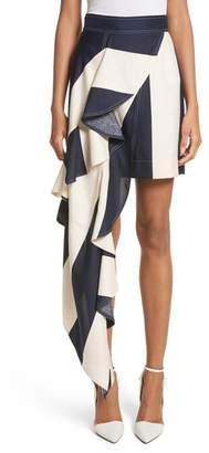 Calvin Klein Flag Stripe Silk Shantung Drape Skirt