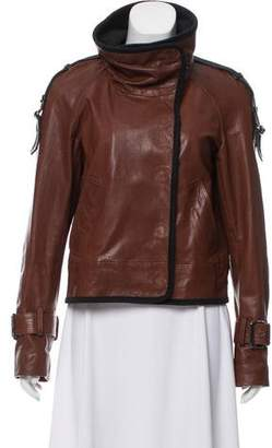Veronica Beard Leather Funnel Neck Jacket