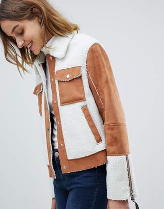 Barneys New York Barneys Originals trucker jacket in faux fur suede and faux fur shearling
