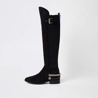 River Island Black chain detail knee high boots