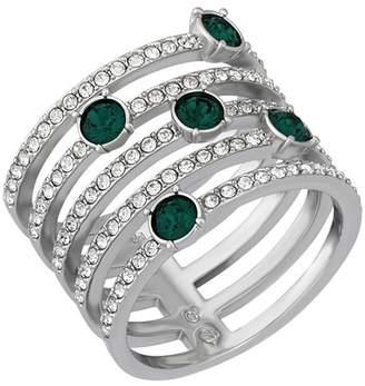 Swarovski Creativity Rhodium Plated Emerald Crystal Ring - Size 7