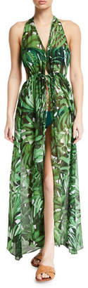 Milly Katrina Leaf-Print Halter Coverup Maxi Dress
