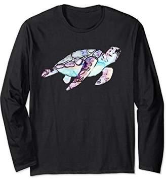 Lovely Swimming Purple Sea Turtle Watercolor Art Long Sleeve