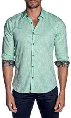 Jared Lang Printed Trim-Fit Button-Down Shirt