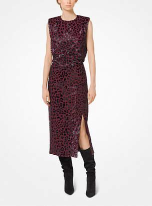 Michael Kors Leopard-Embroidered Stretch Pebble-Crepe Sheath Dress